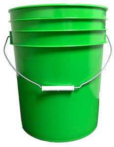 Lime Green plastic 5 gallon round bucket w/ wire bale handle with plastic roller grip