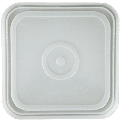 Natural easy on easy off snap tight lid bottom side. No gasket. Fits 4 gallon square buckets (Item: 4GB)