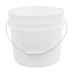 Natural plastic 3.5 gallon round bucket w/ wire bale handle with plastic roller grip