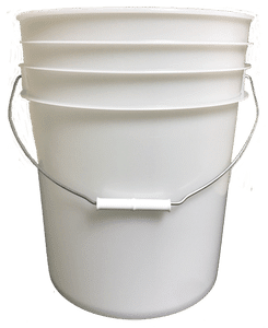 Natural plastic 5 gallon round bucket w/ wire bale handle with plastic roller grip