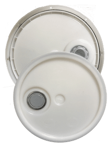 Natural plastic lid with gasket, tear tab and Rieke spout fits 3.5 gallon, 4.25 gallon, 5 gallon, and 5.25 gallon round pails