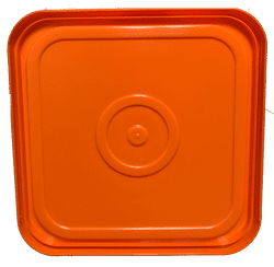 Orange easy on easy off snap tight lid bottom side. No gasket. Fits 4 gallon square buckets (Item: 4GB)