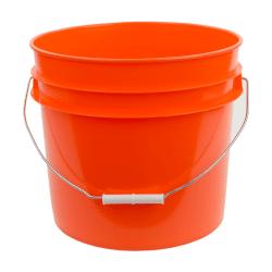 Orange plastic 3.5 gallon round bucket w/ wire bale handle with plastic roller grip