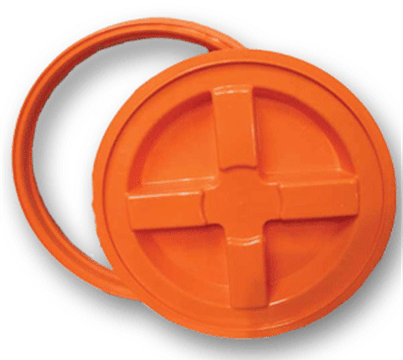 "Orange plastic Gamma Seal Lid fits all standard 3.5 Gallon, 5 Gallon, 6 Gallon and 7 Gallon Pails or Buckets with a 12"" Diameter"