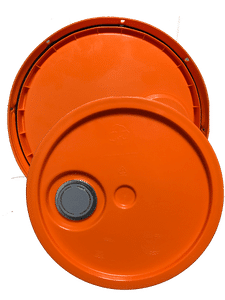 Orange plastic lid with gasket, tear tab and Rieke spout fits 3.5 gallon, 4.25 gallon, 5 gallon, and 5.25 gallon round pails