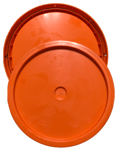 Orange plastic lid with gasket and tear tab fits 3.5 gallon, 4.25 gallon, 5 gallon, and 5.25 gallon round pails