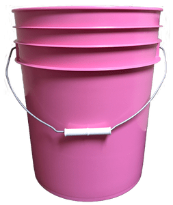 Pink plastic 5 gallon round bucket w/ wire bale handle with plastic roller grip