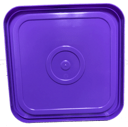 Purple easy on easy off snap tight lid bottom side. No gasket. Fits 4 gallon square buckets (Item: 4GB)