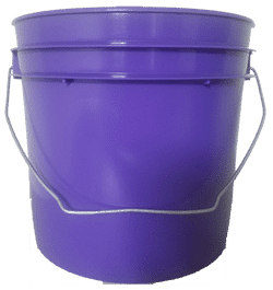 Purple plastic 1 gallon round bucket w/ wire bale handle