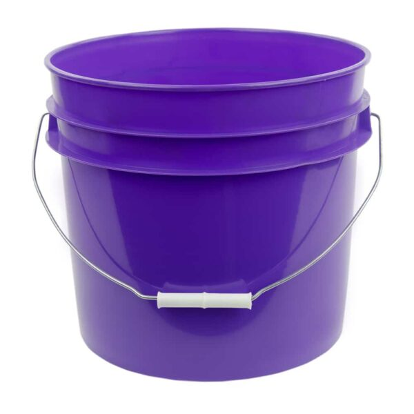 Purple plastic 3.5 gallon round bucket w/ wire bale handle with plastic roller grip