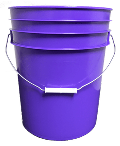 Purple plastic 5 gallon round bucket w/ wire bale handle with plastic roller grip