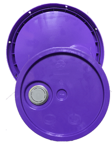 Purple plastic lid with gasket, tear tab and Rieke spout fits 3.5 gallon, 4.25 gallon, 5 gallon, and 5.25 gallon round pails