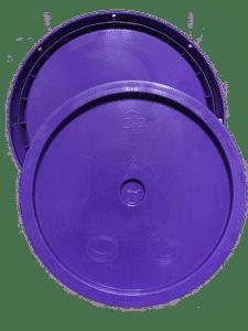 Purple plastic lid with gasket and tear tab fits 3.5 gallon, 4.25 gallon, 5 gallon, and 5.25 gallon round pails