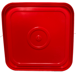 Red easy on easy off snap tight lid bottom side. No gasket. Fits 4 gallon square buckets (Item: 4GB)
