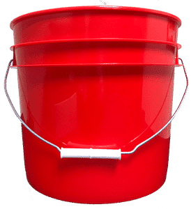 Red plastic 3.5 gallon round bucket w/ wire bale handle with plastic roller grip
