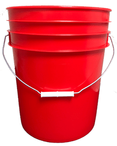 Red plastic 5 gallon round bucket w/ wire bale handle with plastic roller grip