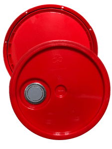 Red plastic lid with gasket, tear tab and Rieke spout fits 3.5 gallon, 4.25 gallon, 5 gallon, and 5.25 gallon round pailsar tab and Rieke spout fits 3.5 Gal, 4.25 Gal, 5 Gal, and 5.25 Gal pails