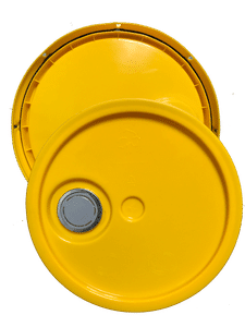 Yellow plastic lid with gasket, tear tab and Rieke spout fits 3.5 gallon, 4.25 gallon, 5 gallon, and 5.25 gallon round pails