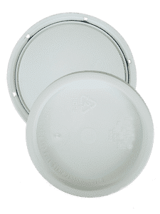 White 1 Gallon round plastic tear tab lid with gasket-P
