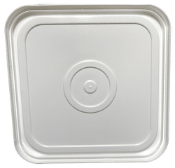 White easy on easy off snap tight lid bottom side. No gasket. Fits 4 gallon square buckets (Item: 4GB)