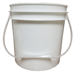 White plastic 1 gallon round bucket w/ plastic handle-P