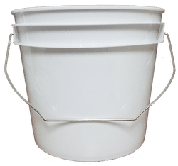 White plastic 1 gallon round bucket w/ wire bale handle-CC