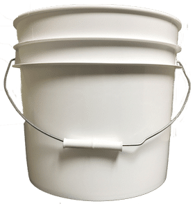 White plastic 3.5 gallon round bucket w/ wire bale handle with plastic roller grip