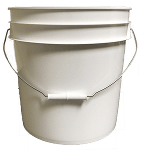 White plastic 4.25 gallon round bucket w/ wire bale handle with plastic roller grip