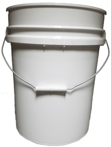 White plastic 5.25 gallon round bucket w/ wire bale handle with plastic roller grip