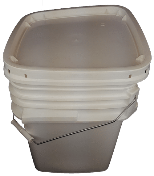 White plastic 5 gallon square bucket w/ wire bale handle with plastic roller grip & lid
