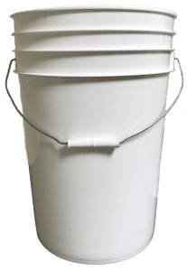 White plastic 6 gallon round bucket w/ wire bale handle with plastic roller grip