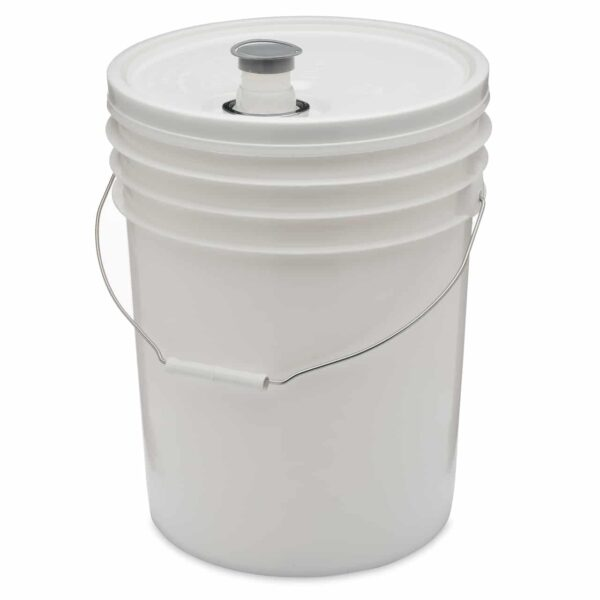White round plastic bucket with tear tab lid with gasket and Rieke spout