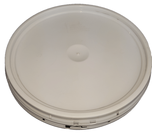 White plastic lid with gasket and tear tab fits 2 gallon round pails