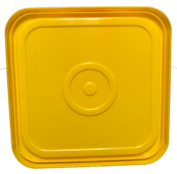 Yellow easy on easy off snap tight lid bottom side. No gasket. Fits 4 gallon square buckets (Item: 4GB)