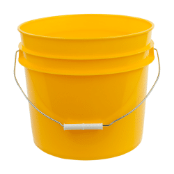Yellow plastic 3.5 gallon round bucket w/ wire bale handle with plastic roller grip