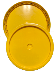 Yellow plastic lid with gasket and tear tab fits 3.5 gallon, 4.25 gallon, 5 gallon, and 5.25 gallon round pails