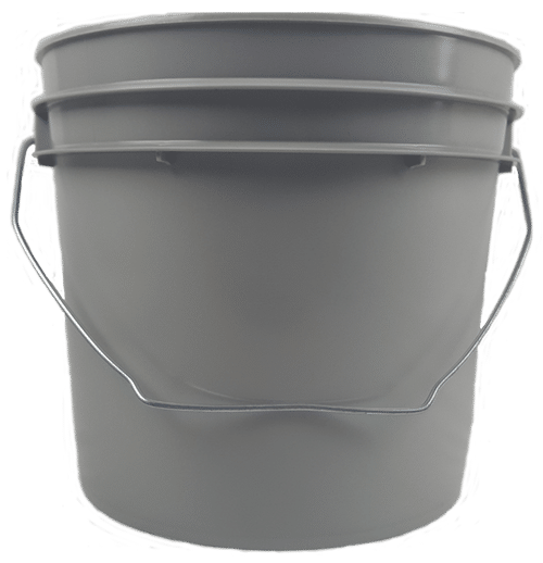1 gallon Gray plastic round bucket with wire bale handle