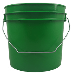 1 gallon Green plastic round bucket with wire bale handle