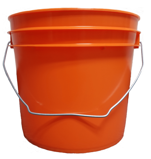 Orange plastic 1 gallon round bucket with wire bale handle