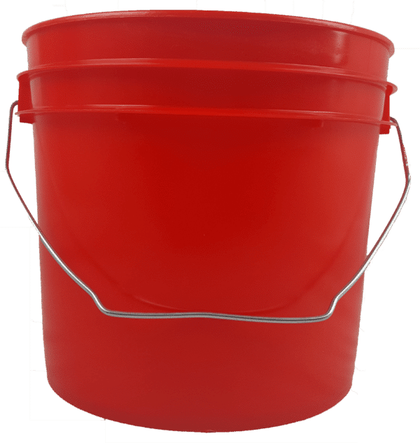 Red plastic 1 gallon round bucket with wire bale handle