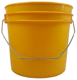 Yellow plastic 1 gallon round bucket with wire bale handle