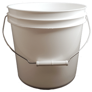 2 Gallon Round White Plastic Pail with Wire Bale and Plastic Roller Grip