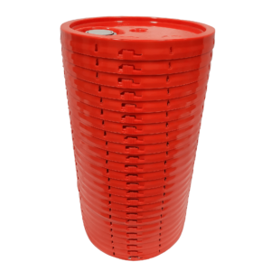 Red plastic lid with gasket, tear tab and Rieke spout fits 3.5 gallon, 4.25 gallon, 5 gallon, and 5.25 gallon round pails