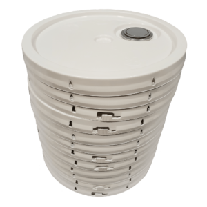 White plastic lid with gasket, tear tab and Rieke spout fits 3.5 gallon, 4.25 gallon, 5 gallon, and 5.25 gallon round pails