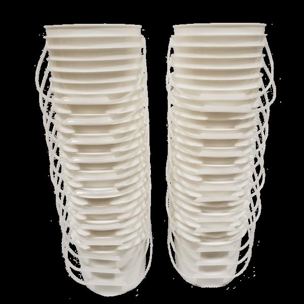 White plastic 1 gallon round bucket w/ plastic handle