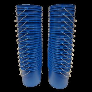 Chevron Blue plastic 2 gallon round bucket w/ wire bale handle with plastic roller grip